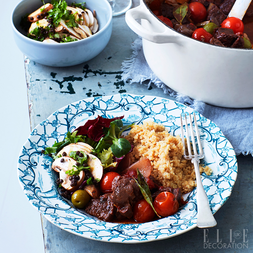 French beef casserole with orange, olives and tomato, served with mushroom salad with beluga lentils and parsley