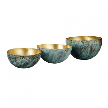 'Lama' nesting bowls in Verdigris finished brass, £245 for a set of three, Oka.