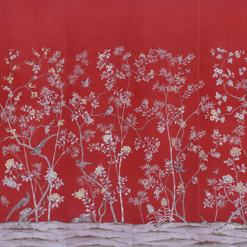 "Chinese red ""Portobello"" silk wallpaper,from £704 for a panel from De Gournay. First featured in the February 2017 ""Trends"" edition of ELLE Decoration"