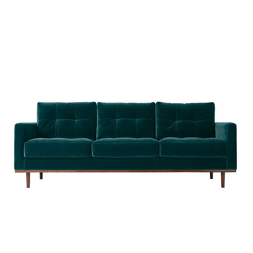 'Berlin' sofa in 'Kingfisher' velvet, £1,079, Swoon Editions.