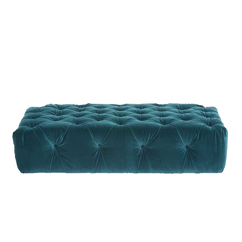 'Dezra' footstool, in teal blue velvet, £499, Marks & Spencer