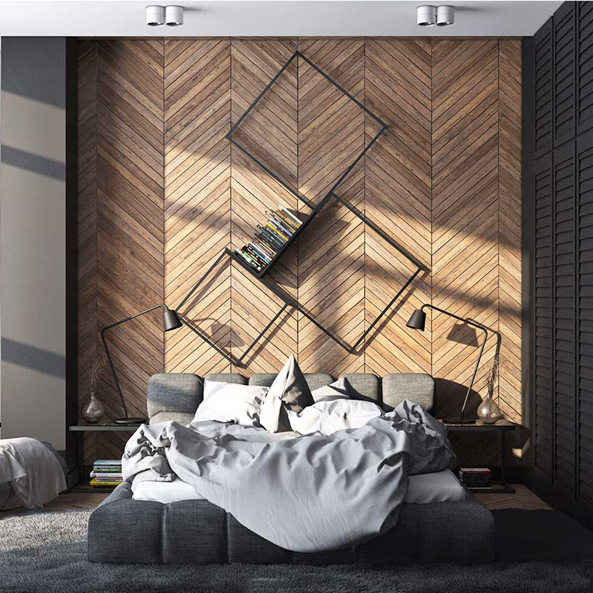 Parquet on the walls of your bedroom? Why not!