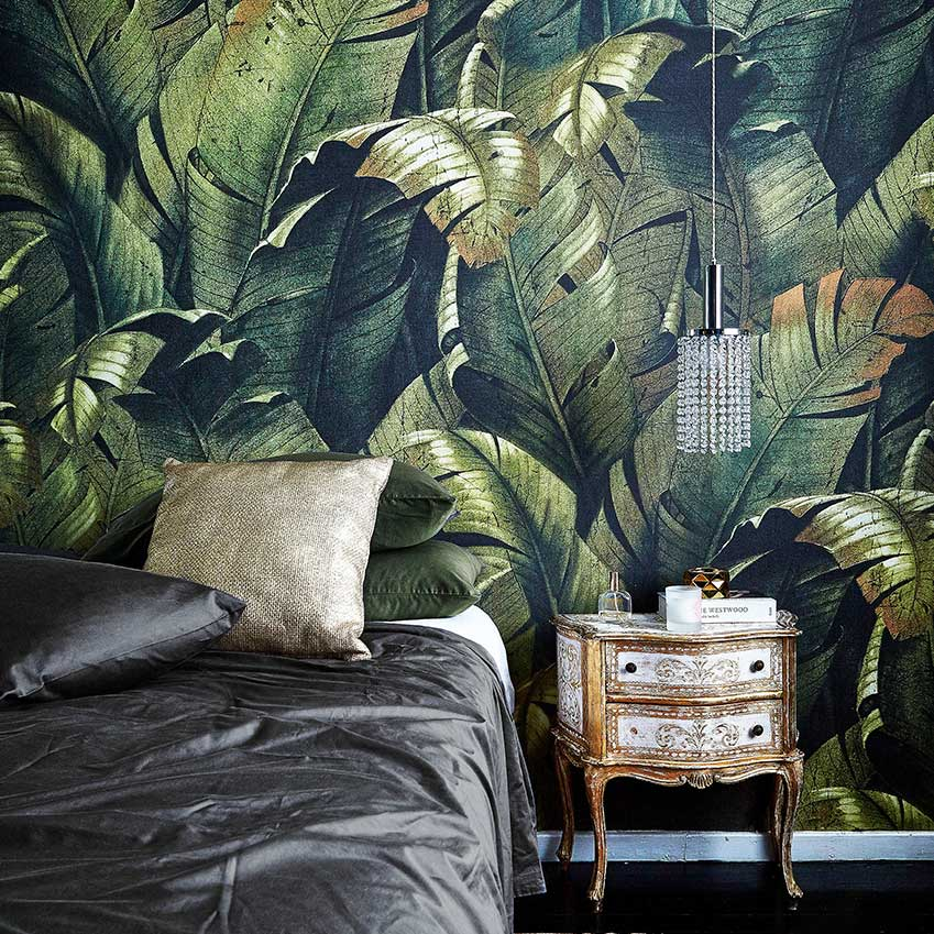 This house, first featured in our May 2016 edition, used an amazing custom print of tropical leaves to add an exotic touch of green to the main bedroom.