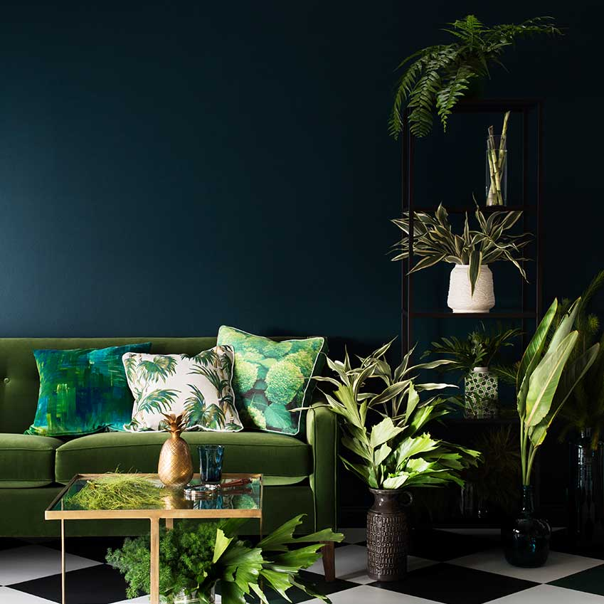 Your very own all-weather, indoor oasis. Sofa from Moss Melbourne in Australia, Cushions from Northwood, wall painted in