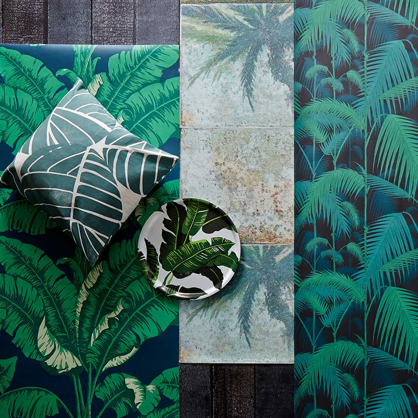 All the big companies are in on the leaf-print wallpaper action! From left:
