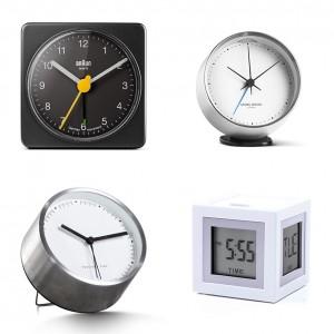 The Beautiful Basic 'Aurelia' clock, £15, Made.com; The Design Classic 'BNC002' clock, £20, Braun; The High Street Hit 'Cubissimo' clock, £33, Lexon; The Investment Piece 'Koppel' clock, £90, Georg Jensen