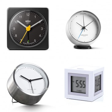 The Beautiful Basic 'Aurelia' clock, £15, Made.com; The Design Classic 'BNC002' clock, £20, Braun; The High Street Hit 'Cubissimo' clock, £33, Lexon; The Investment Piece 'Koppel' clock, £90, Georg Jensen
