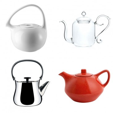 The Design Classic 'Cha' teapot in white by Federica Capitani, £147, Rosenthal; Or Blow the Budget 'Beaux Arts' teapot, £232.83, Mariage Frères; The High Street Hit 'Castell' teapot, £35, Habitat; The New Design Icon 'Cha' teapot by Alessi, £115, John Lewis