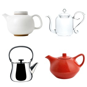 The Design Classic 'Olio' teapot by Barber and Osgerby, £45, Royal Doulton; Blow the Budget 'Beaux Arts' teapot, £270, Mariage Frères; The High Street Hit 'Castell' teapot, £35, Habitat; The New Design Icon 'Cha' teapot by Alessi, £115, John Lewis