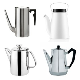 Or Blow the Budget 'Cylinda Line' coffee pot by Arne Jacobsen for Stelton, £219, SCP; The New Design Icon 'Madam Solo' coffee pot by Eva Solo, £75, Houseology; The Design Classic 'Ottagonale' coffee pot by Alessi, £95, John Lewis; The Beautiful Basic Stainless steel coffee pot, £11.99, Wayfair