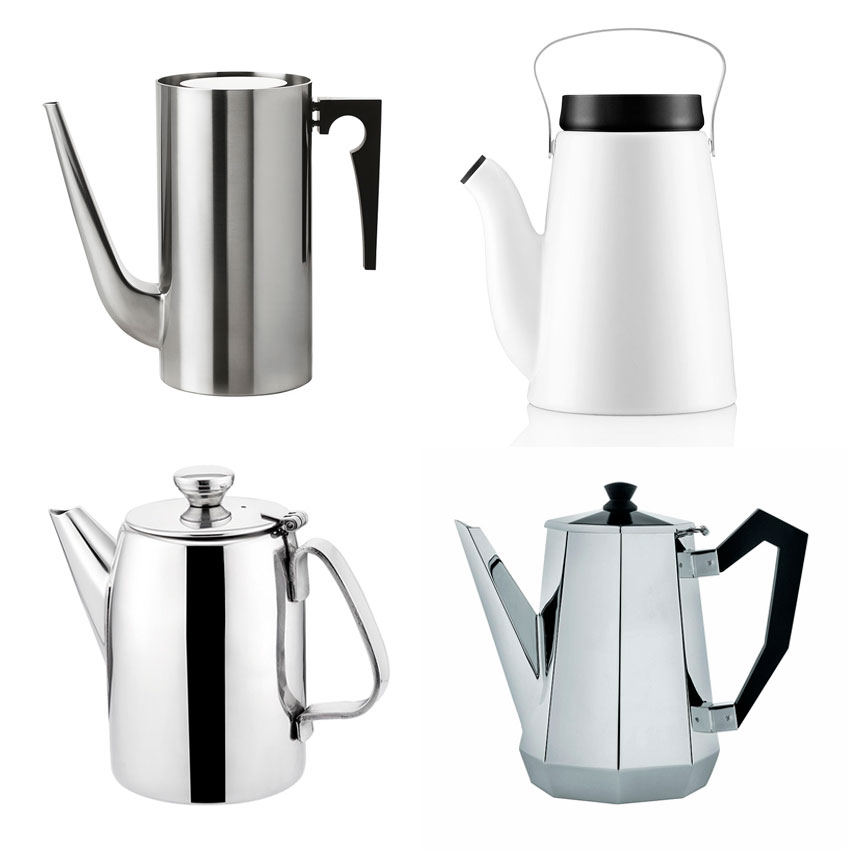 From top left, clockwise: Blow the Budget 'Cylinda Line' coffee pot by Arne Jacobsen for Stelton, £219, SCP; The New Design Icon 'Madam Solo' coffee pot by Eva Solo, £75, Houseology; The Design Classic 'Ottagonale' coffee pot by Alessi, £95, John Lewis; The Beautiful Basic Stainless steel coffee pot, £11.99, Wayfair