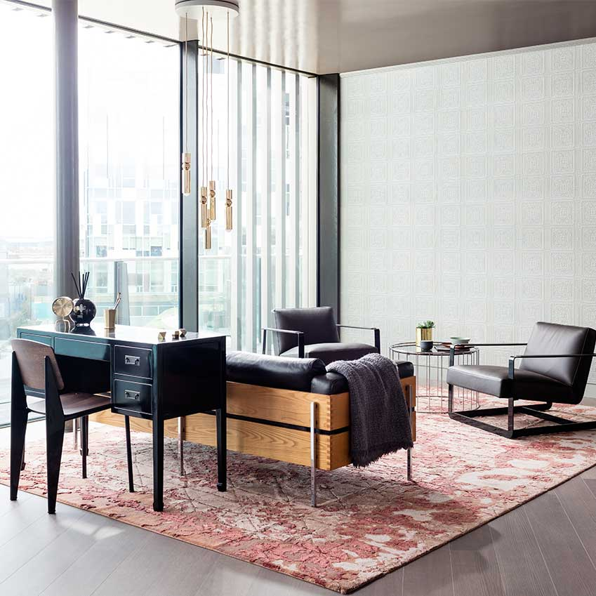 In the EDapartment at Greenwich Peninsula an amazing terracotta-toned rug from Golran anchored the study space. It's a silk/wool mix and is from the