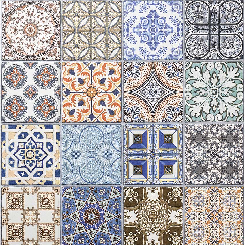 "Making the mix and mismatch tile thing easy for you, The Baked Tile Company sell this ""Vintage"" multi-tile design by the square metre. £30 per sqm. bakedtiles.co.uk"