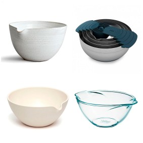 The New Design Icon 'Rustic Stoneware' mixing bowl, £45, Nom Living; The Investment Piece 'Nest 100' mixing bowl set by Joseph Joseph, £99.95, Steamer; The Beautiful Basic 'Pyrex Vintage' mixing bowl by Pyrex, £9.95, John Lewis; The Design Classic Porcelain 'Lipped' mixing bowl by John Julian, £60, David Mellor