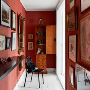 Detail of the red hallway, seen previously in this home in Copenhagen. Dark colours always make wonderful backdrops for artwork. It also makes what could have been a real Cinderella space, into something marvellous. Photographer Birgitta Wolfgang.