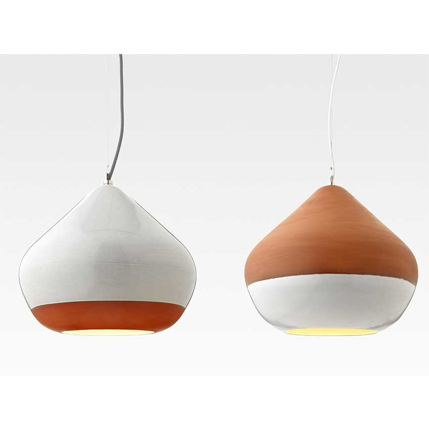 Terracotta pendant lights, £305, Hand & Eye Studio.