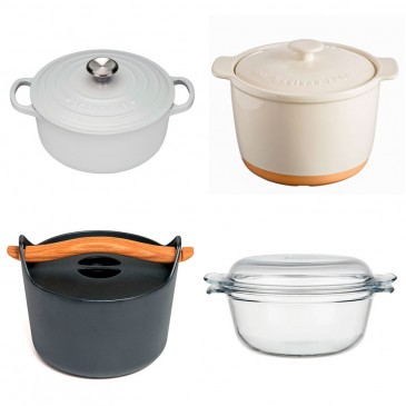 The Investment Piece Cast iron casserole dish in white by Le Creuset, £159, Selfridges; The Beautiful Basic 'Cane' casserole dish by Mason Cash, £24.99, Very; The Design Classic 'Easy Grip' casserole dish by Pyrex, £8.99, John Lewis; Or Blow the Budget Cast iron casserole dish in black by Timo Sarpaneva, £169, David Mellor Design