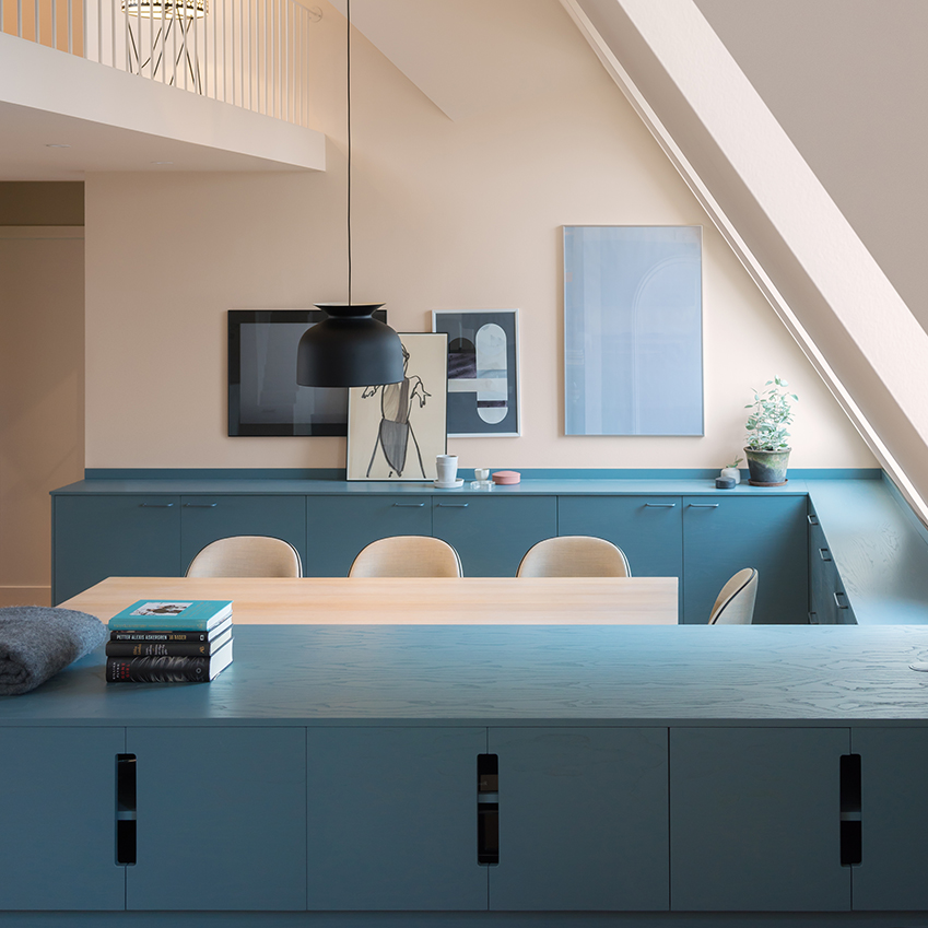 Note Design Studio blue and pink kitchen
