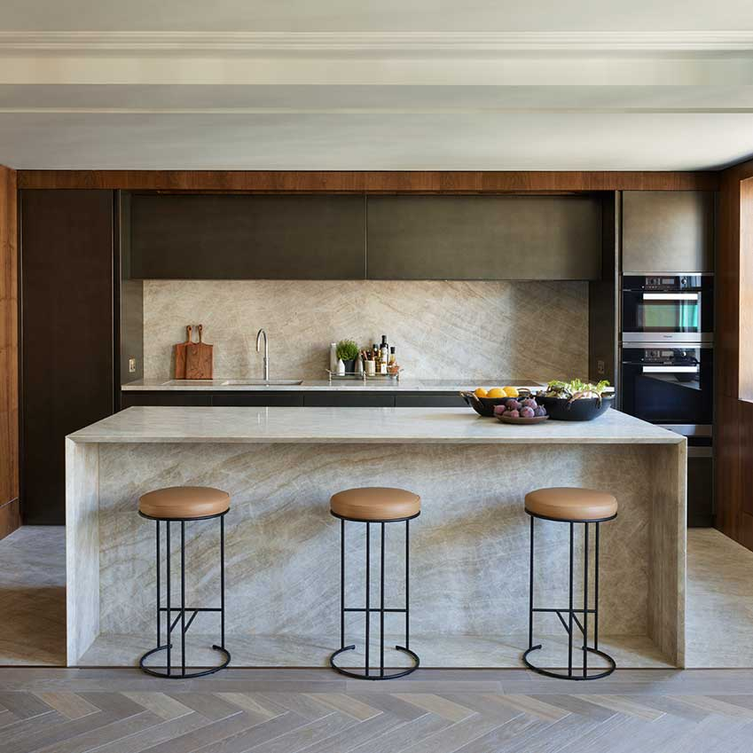 This kitchen was designed for a luxury penthouse apartment by Design Space London. For more details see ELLE Decoration Kitchens volume 2. Link at the bottom of this post.