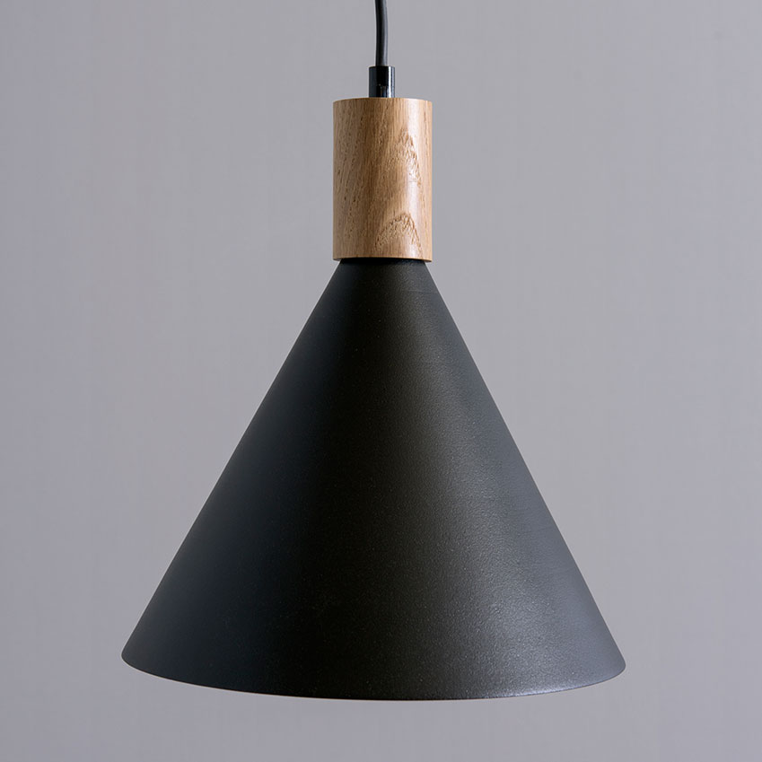 'Small cone' hanging light in black and oak, £470, Asaf Weinbroom