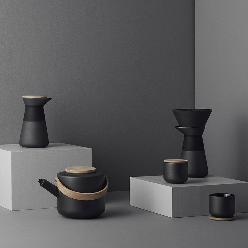 From left 'Theo' milk jug, £34.95; teapot, £89.95; tea mug, £19.95; 'Theo Slow Brew' coffee brewer, £59.95, all in black by France Cayouette, Stelton
