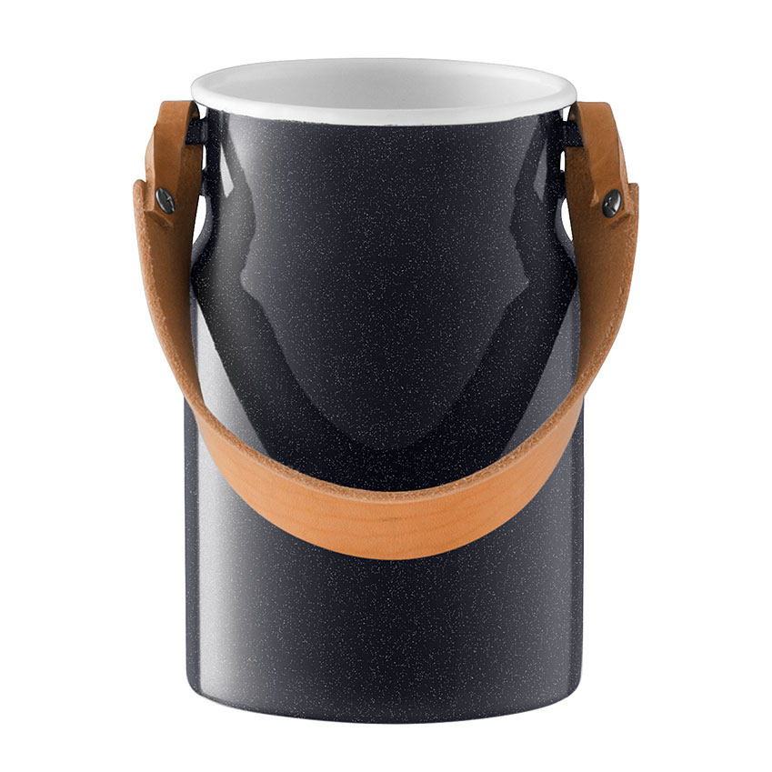 'Utility' utensil pot in Pepper Black with leather handle by Monika Lubkowska-Jonas, £34, LSA International