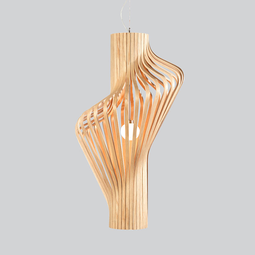 'Diva' pendant in oak plywood by Northern Lighting, £1,842, Holloways of Ludlow