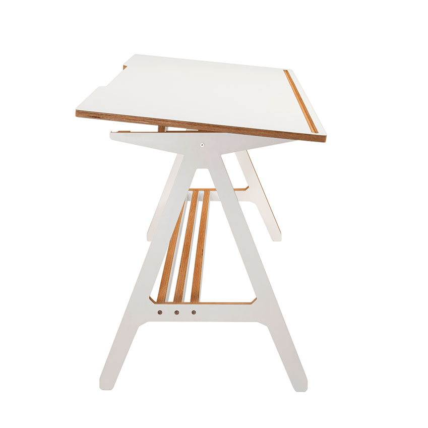 'The A Desk' in birch plywood with white laminate by Alex Swain, £499, ByALEX