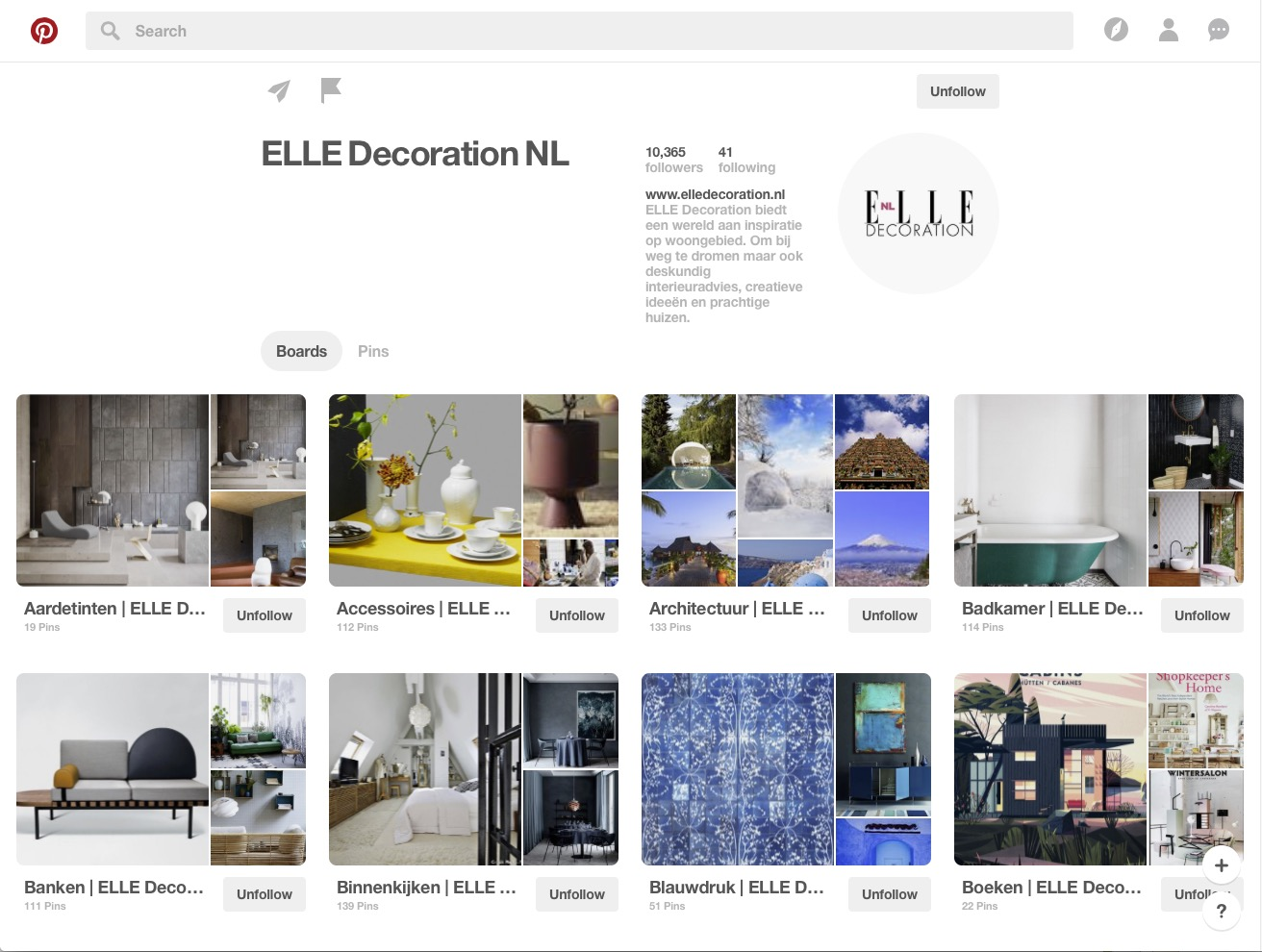 Pinterest Board ELLE Decoration NL