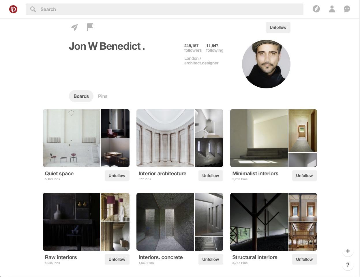 Jon W Benedict Pinterest Board