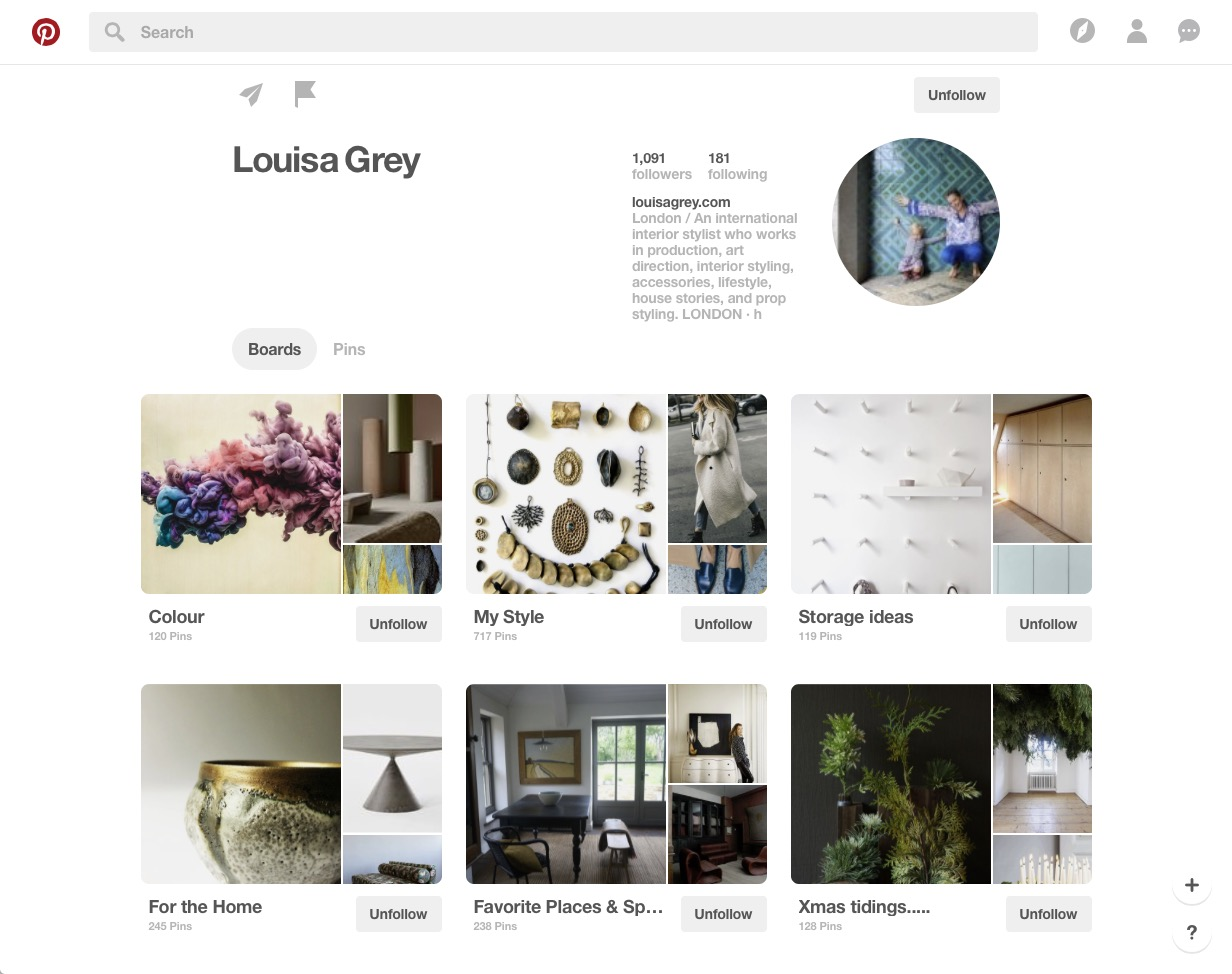 Louise Grey Pinterest board