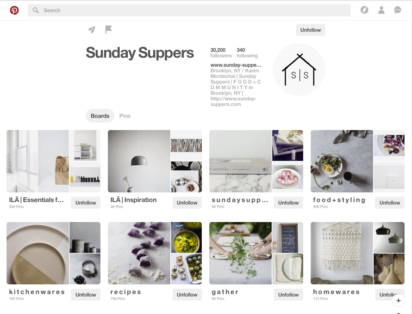 Sunday Suppers Pinterest board