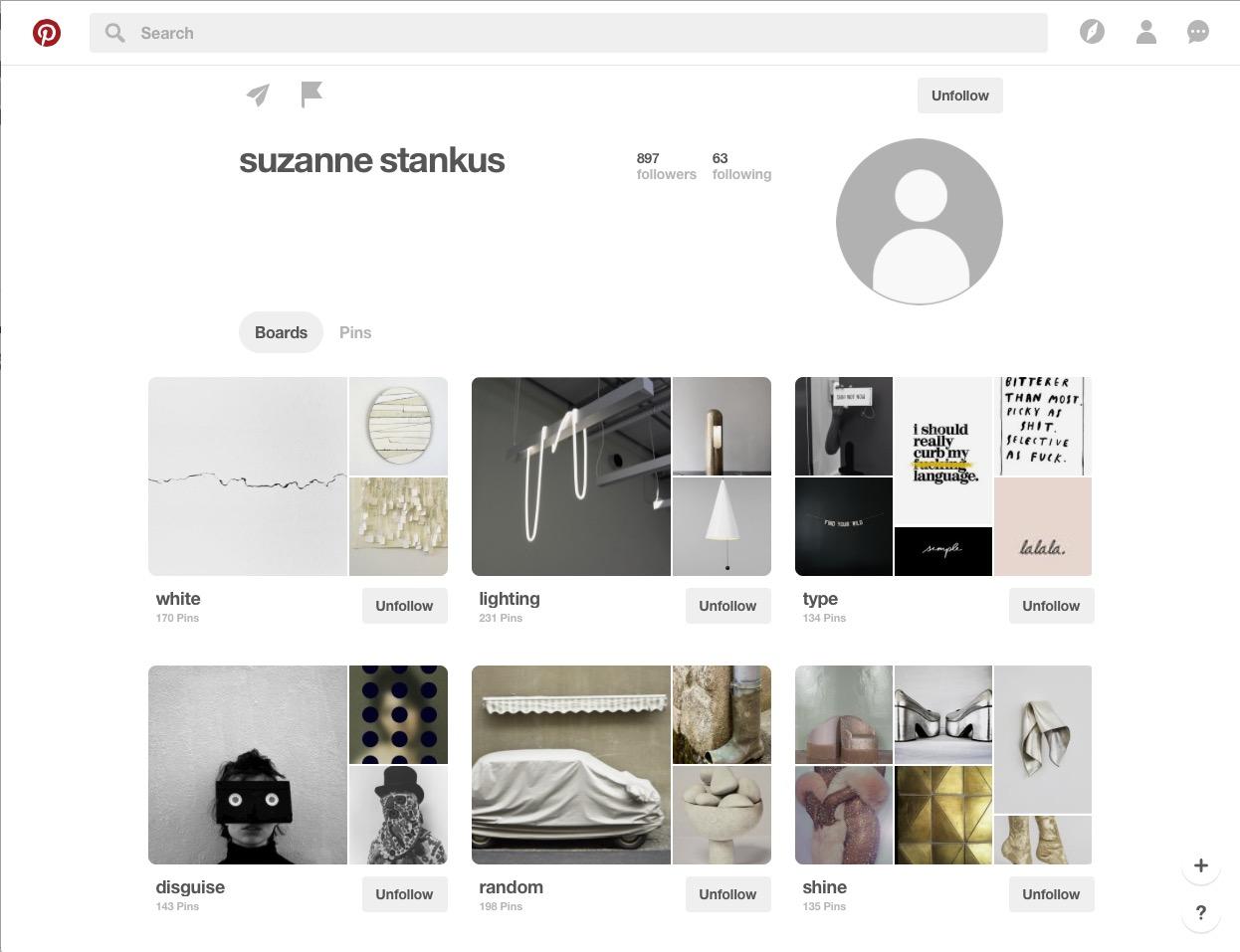 Suzanne Stankus Pinterest board