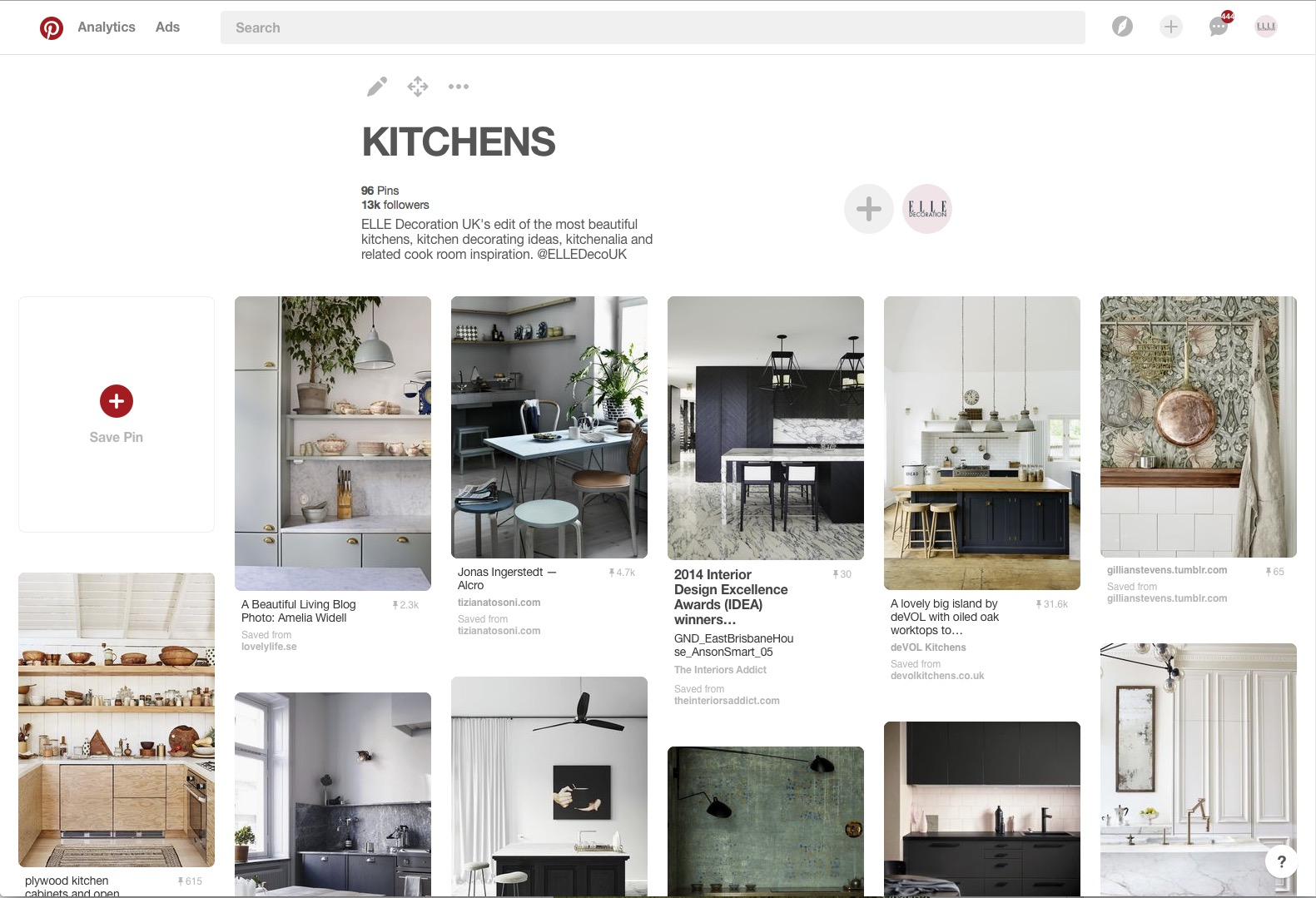 ELLE Decoration UK Pinterest board kitchens