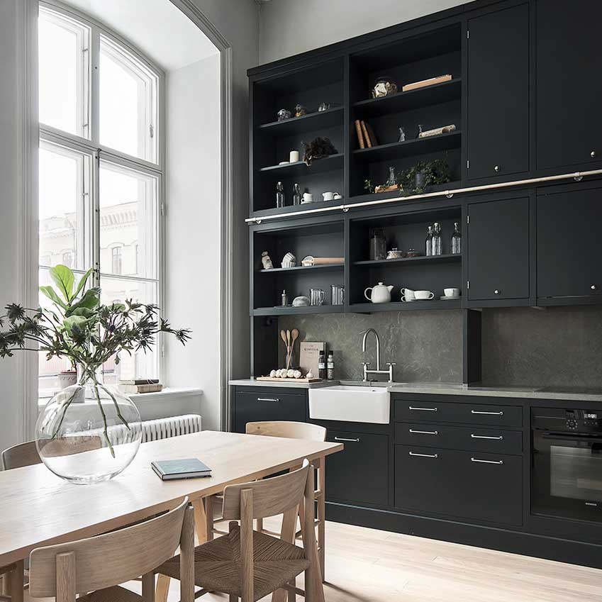 The Storage Units In The Kitchen Of This Stockholm Apartment Make Good Use  Of The High
