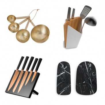 Brass measuring spoons, £52 Ferm Living; Utensil holder, £40, Black + Blum; 'Pebble' marble serving boards by Simon Legald, from £49.90, Normann Copenhagen; 'Titanium Copper' knife block by Viners, £59.99, Very