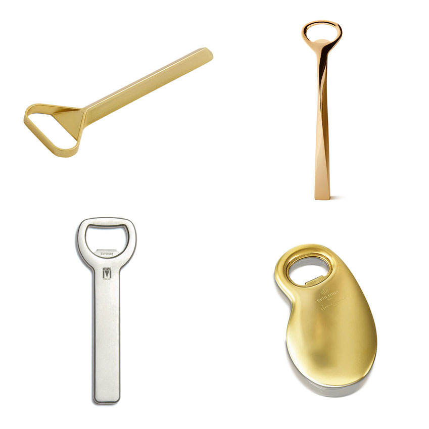 'Cap' bottle opener, from £12, HAY; 'Leon' bottle opener by Aerin, £102, Harrods; 'Barbara' bottle opener by Skultuna, £64, Amara; 'Rotondo' bottle opener by Monopol, £14.80, David Mellor
