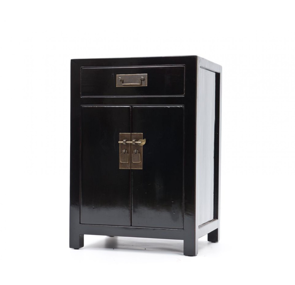 Black lacquered elm, tall bedside cabinet, £495, Orchid Furniutre