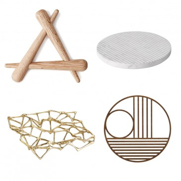 The Beautiful Basic 'Timber' trivet, £19.90, Normann Copenhagen; The Design Classic 'Groove' trivet in white by Muuto, from £34, Nest; The New Design Icon 'Circle Outline' trivet, £17, Ferm Living; Or Blow the Budget 'Bone' trivet by Tom Dixon, £165, Nest