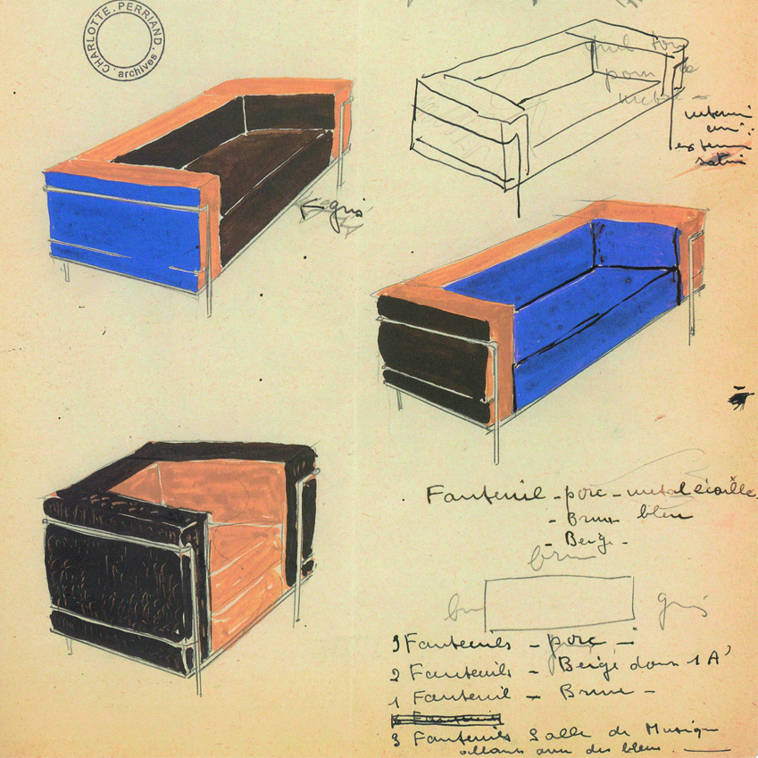 1920's original drawings for the LC2, also known as the also known as the 'Grand Confort'