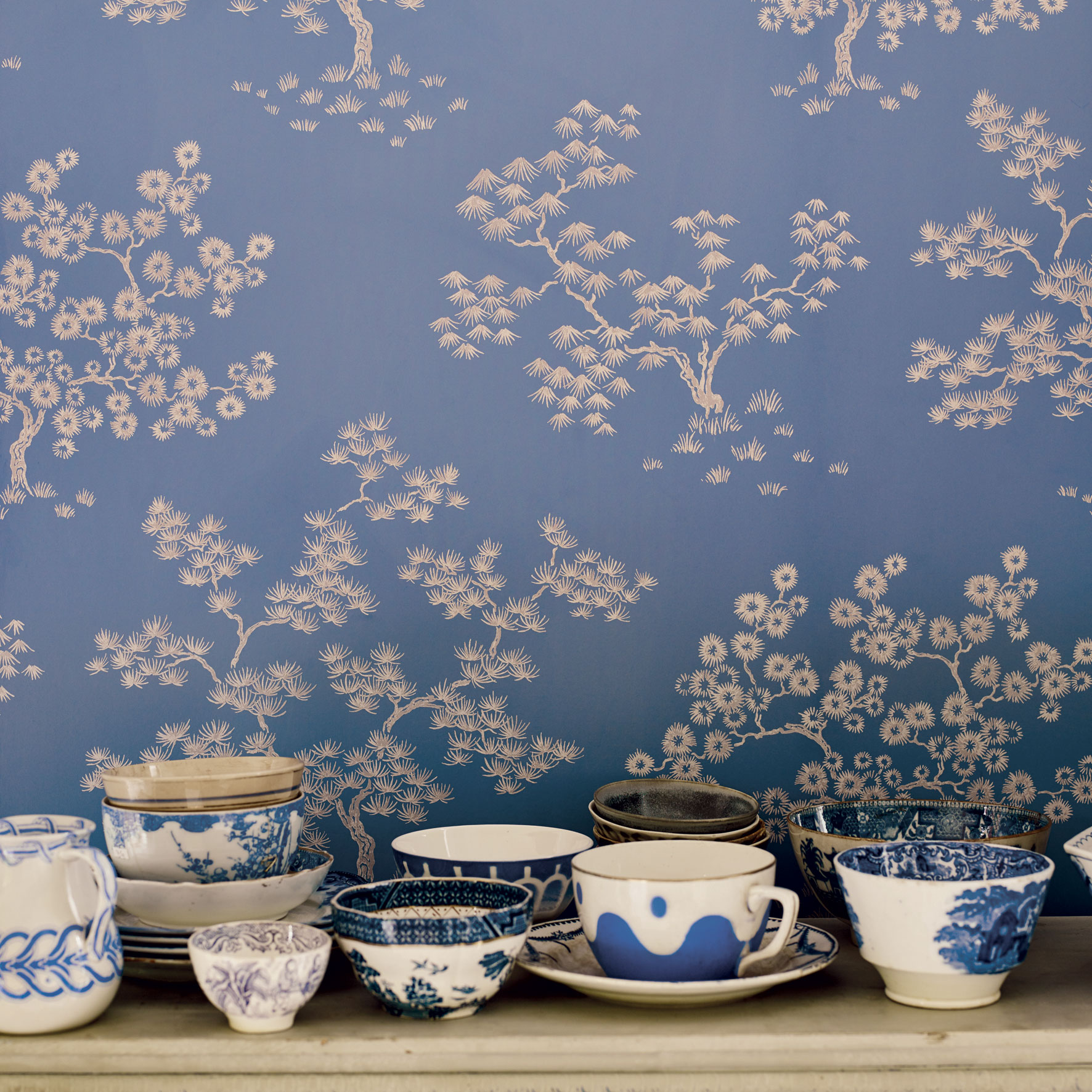 'Kyoto' wallpaper in Summer, £75 per roll, Fired Earth