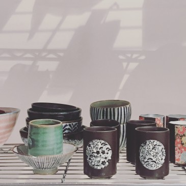 Japanese cups in the Moriama House, reconstucted inside The Barbican centre. Photo Michelle Ogundehin