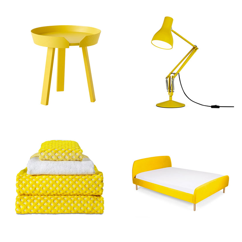 'Around' small coffee table in yellow, Muuto; 'Type 75' desk lamp in Yellow Ochre by Margaret Howell for Anglepoise, £140, Heal's; 'Jonah' double bed in Dandelion Yellow, £549, Made.com; 'Autumn Yellow' towels and facecloth, from £13, HAY