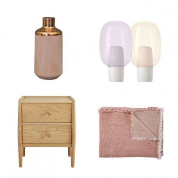 Water carafe in terracotta and copper, £125, Hend Krichen; 'Yoko' table light by Anderssen & Voll, £262, Foscarini; 'Vice Versa' stone-washed 100% linen throw by Masion de Vacances, £260, The Conran Shop.; 'Shalstone' 2-drawer bedside table by Ercol for John Lewis. £345.