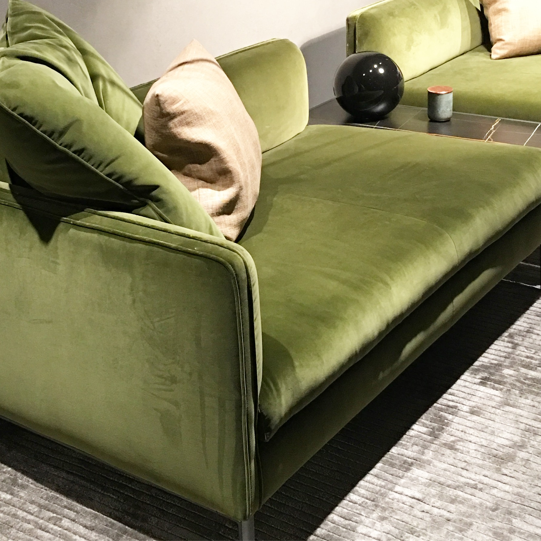 The green upholstered sofa is fast becoming a new classic, especially when done in velvet, and by Italian maestros Molteni & Co. Photograph: Michelle Ogundehin