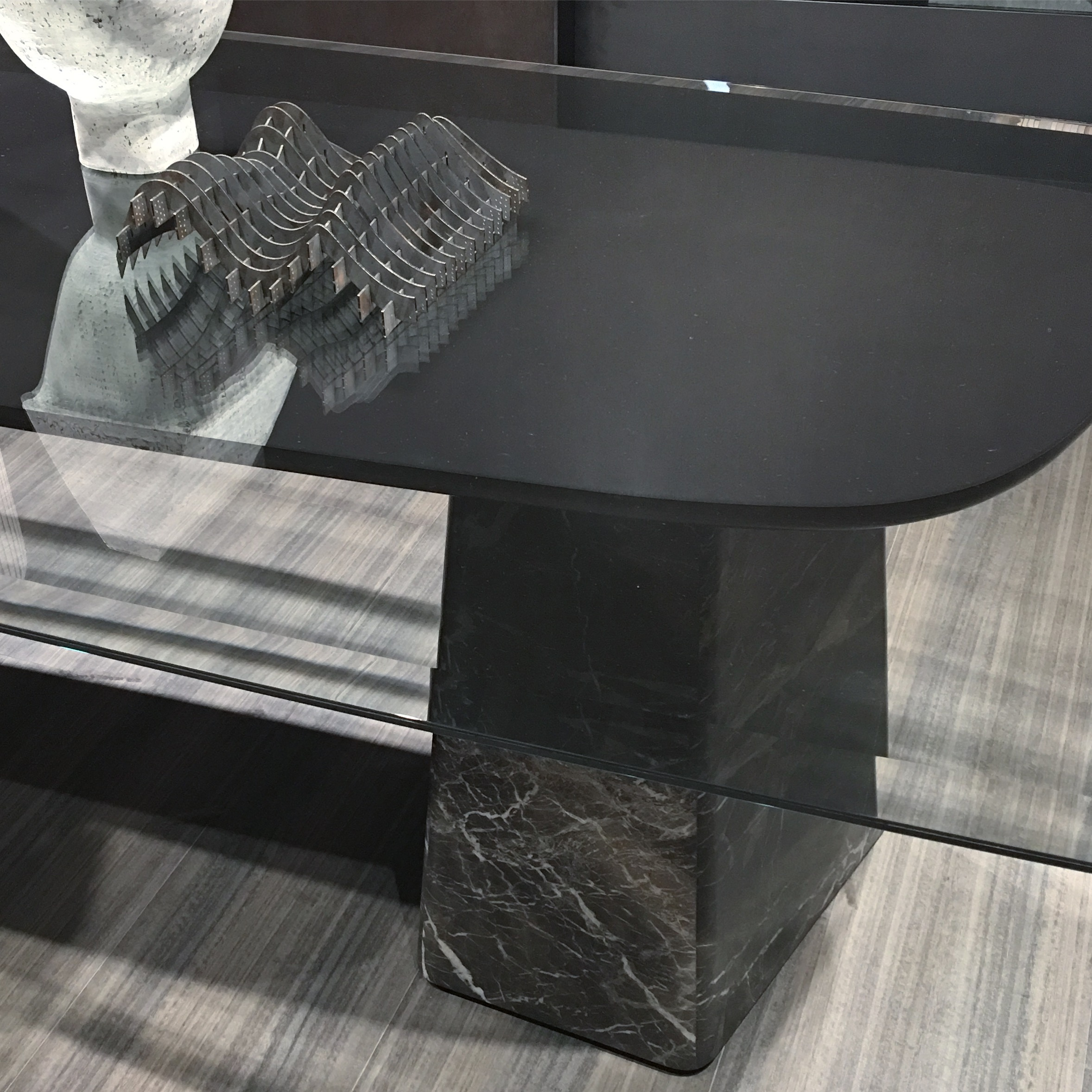 As mentioned in Trend 7, the use of marble was a key look at the fair in 2017. Here at Molten & Co. a striking black marble was used to create a striking and sculptural base for an otherwise simple glass-topped table. Photograph: Michelle Ogundehin