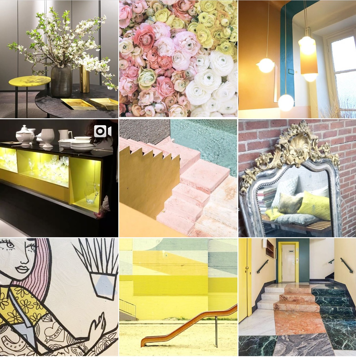 Spring colours Instagram moodboard via @michelleogundehin