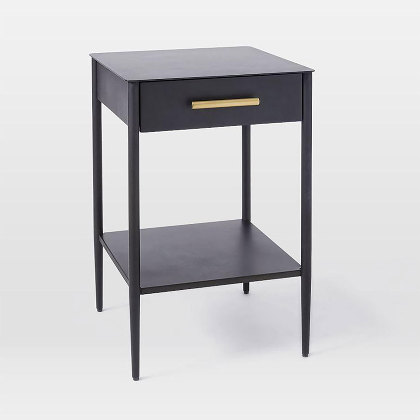 Black rolled steel 'Metalwork' bedside table with wooden drawer, from  Westelm,