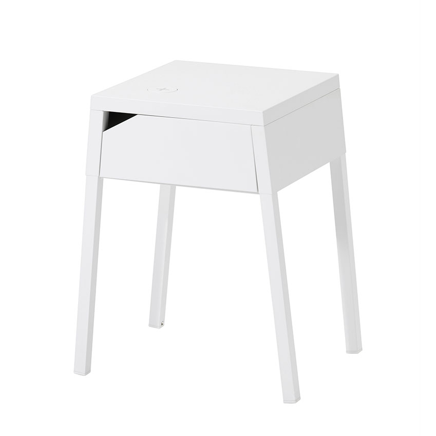 The 'Selje' white bedside table with wireless phone charging, £50, IKEA.