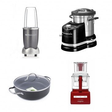 The Nutribullet; 'Artisan Cook Processor' by Kitchenaid ; Cuisine Systeme 5200XL By Magimix; 'Venice' non-stick pans by Greenpan
